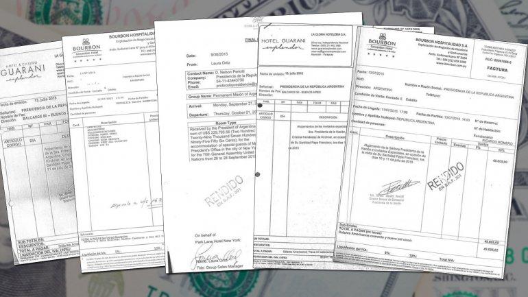 Las facturas que tiene el gobierno nacional en su poder: son originales y copias de alojamientos en Nueva York y Paraguay