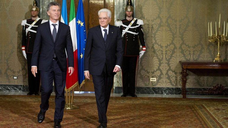 Mauricio Macri se reunió en Roma con el presidente de Italia,Sergio Mattarella.
