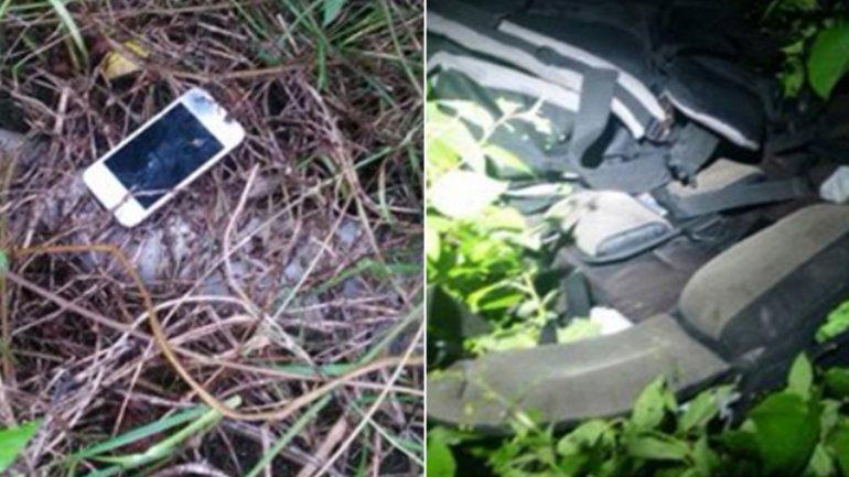 Mochilas y teléfono que estaban en la casa del hombre que confesó el crimen