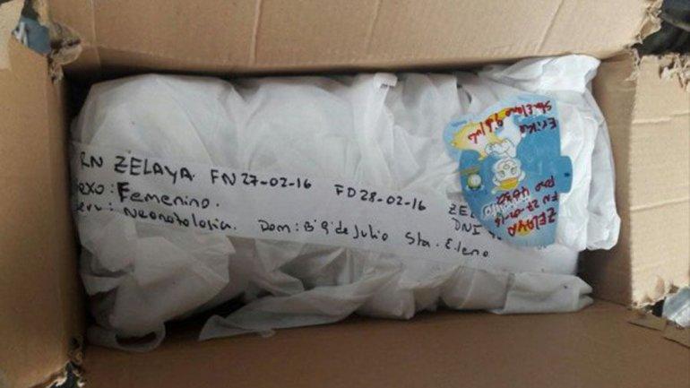 La caja en la que Érica Zelaya recibió a su propia hija