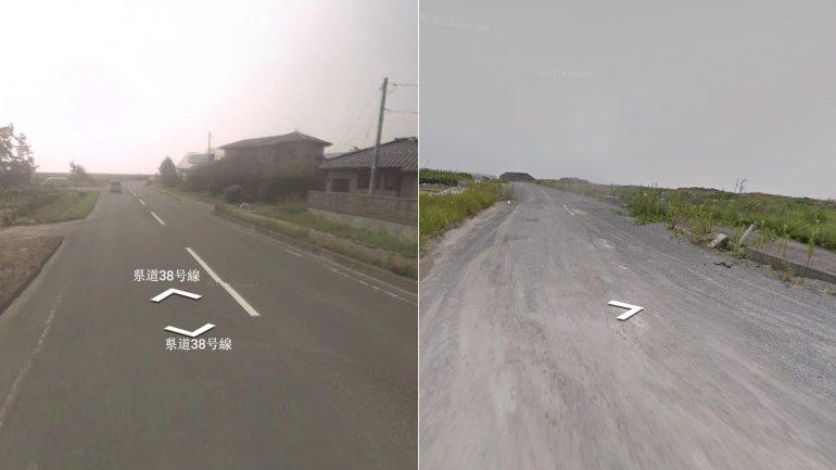 Soma, retratada antes y después por Street View