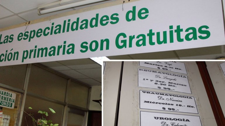 El cartel en el centro de salud de Caseros