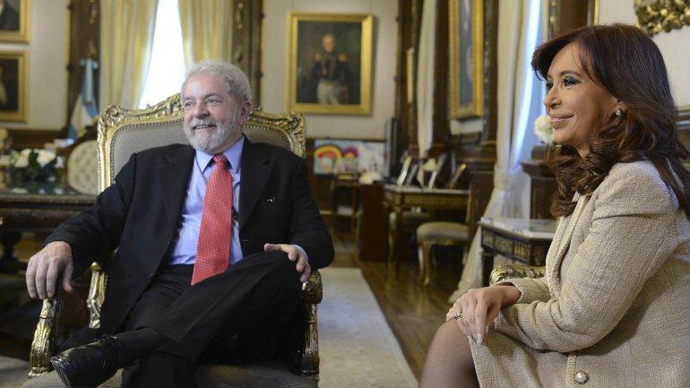 Cristina Kirchner junto a Lula Da Silva
