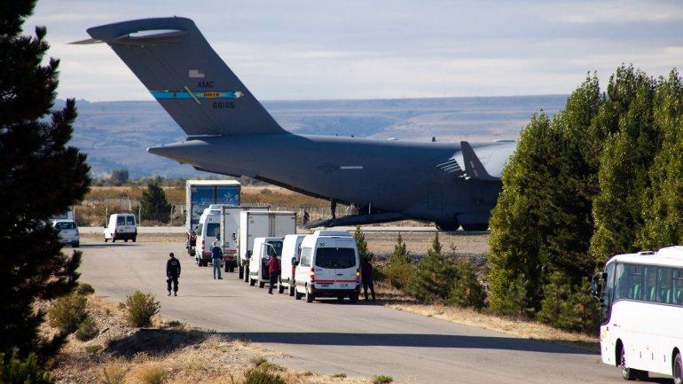 ElBoeing C17 de la Fuerza Aérea estadounidense que llegó a Bariloche antes de la visita de Barack Obama