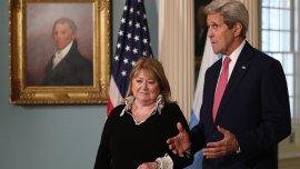 La canciller Susana Malcorra fue recibida por el secretario de Estado de los EEUU, John Kerry.
