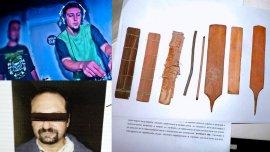 El DJ Avisman, el chaman Jorge Giménez y los listones de kambo incautados por la PFA