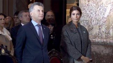 Captura de TV. Macri y Awada en la Catedral Metropolitana