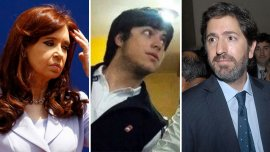 la ex presidente Cristina Elisabet Kirchner, Leandro Báez, hijo del empresario detenido, y el juez Sebastián Casanello