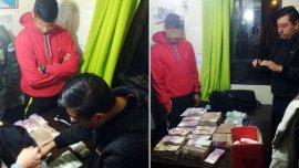 El dinero decomisado por oficiales de Gendarmería