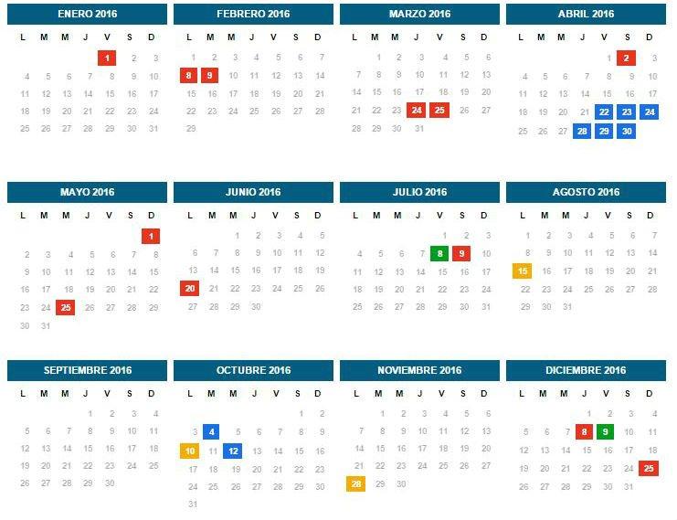 Cronograma de feriados 2016 dispuesto por el Ministerio del Interior