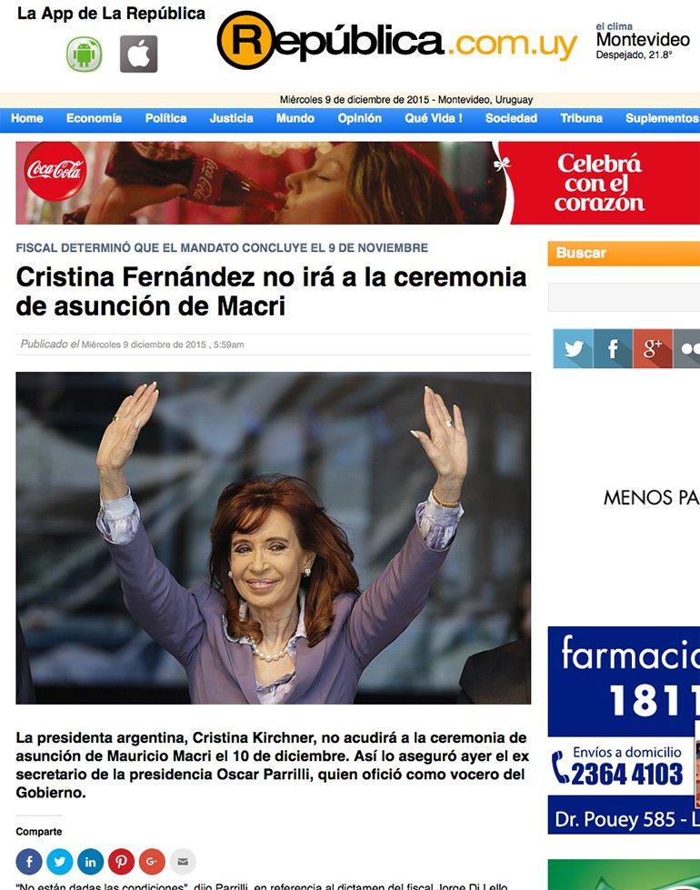 Medios del mundo reflejan asombrados la decisión de CFK sobre no asistir a la ceremonia de traspaso