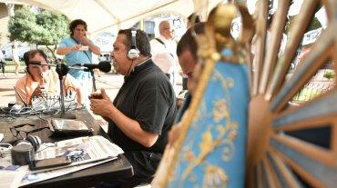 El dirigente sindical Luis D`Elía  realizó su programa de radio esta mañana desde la carpa más grande