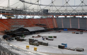 Vista general de los preparativos para el concierto de la banda de rock británica TheRollingStones, en el estadio de La Plata