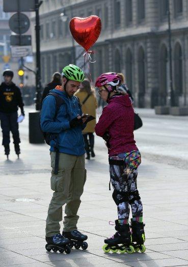 Amor sobre patines en Polonia.