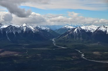 La expedición aérea fue el resultado de una combinación de pasiones: Patagonia, fotografía y aeronáutica. En la foto, la localidad de Cholila
