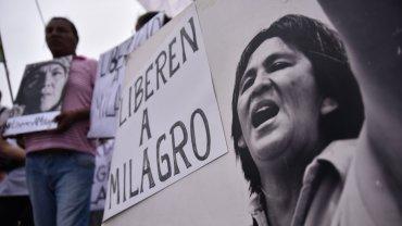 Una marcha en la que los manifestantes reclamaron por la liberación de Milagro Sala