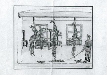 El tormento de garrucha era uno de los peores castigos oficiales de la SS. Este dibujo, obra de un sobreviviente, muestra una escena de los baños de Dachau.