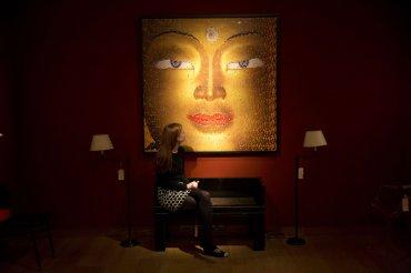 Collage sobre tabla de Buda, una de las piezas que se subastarán