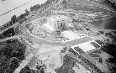 Vista aérea de la construcción, a punto de concluir, en 1919.