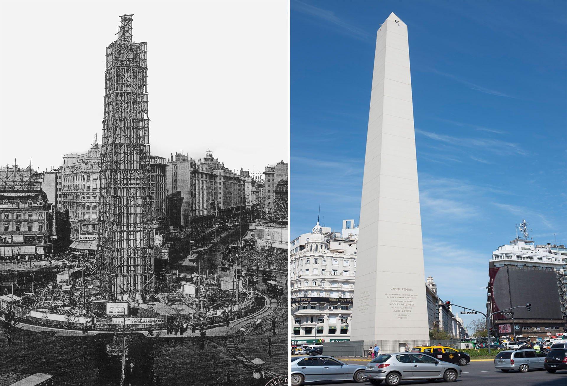 El Obelisco en 1936 y en la actualidad
