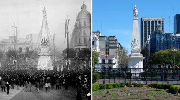 Plaza de Mayo en 1889 y en la actualidad