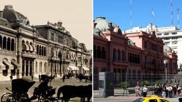 La Casa Rosada a finales del siglo XIX, y en la actualidad