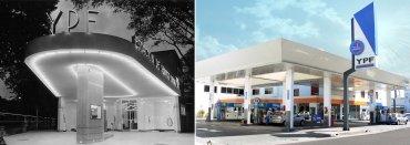 Antigua y moderna estación de servicio
