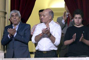 El líder de la CGT (Confederacion General del Trabajo) Hugo Moyano y el Secretario General de la UATRE (Union Argentina de Trabajadores Rurales y Estibadores), Geronimo Venegas