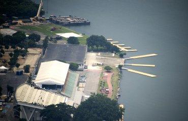 Vista aérea de las instalaciones de remo de la laguna Rodrigo de Freitas