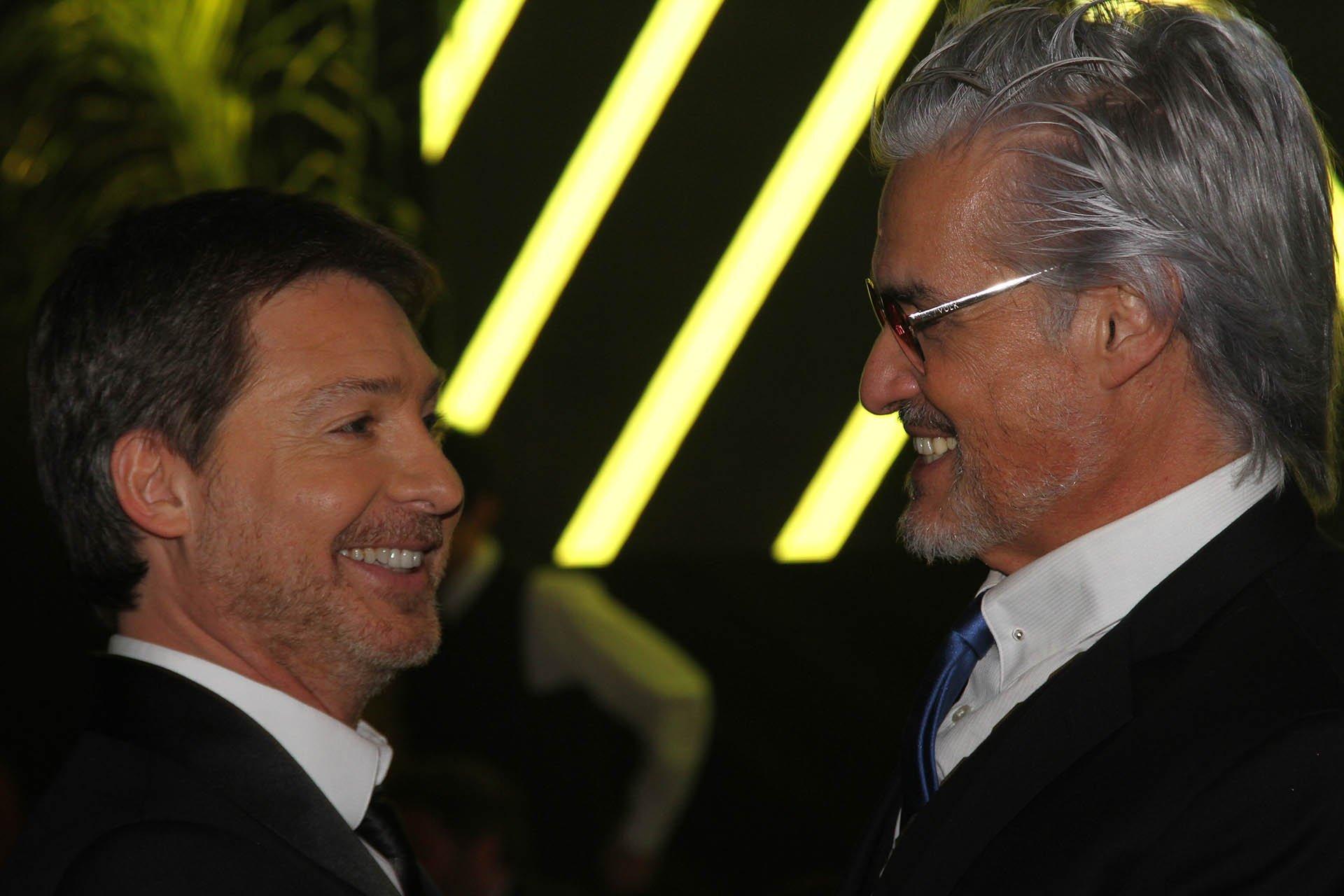 El actor Adrián Suar y Roberto Petinatto, conductor del programa Radio Rana, de Rock & Pop
